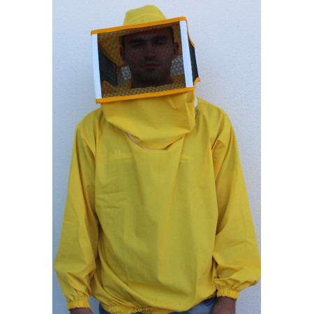 Beekeeper jacket with square veil, yellow (sizes M-L-XL-XXL)