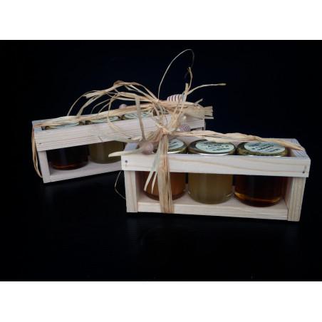 Cassettina in legno per 3 vasetti da gr. 50