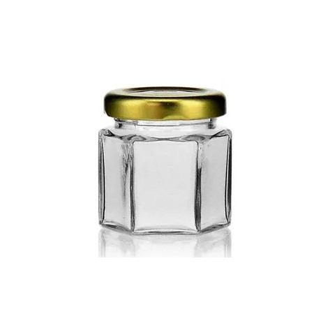 Hexagonal glass jar about 50 gr of...