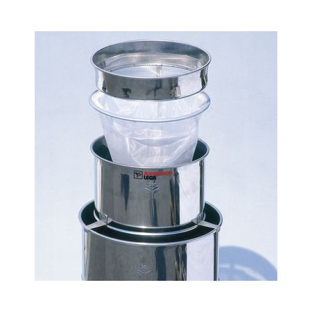 Honey double strainer, large, stainless steel, with nylon cloth and rough strainer, for 200-400 kg tanks