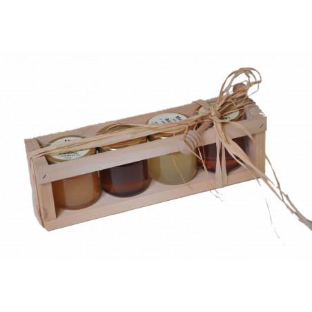 Cassettina in legno per 4 vasetti da gr. 50